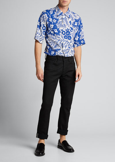 Men's Two-Tone Floral Sport Shirt