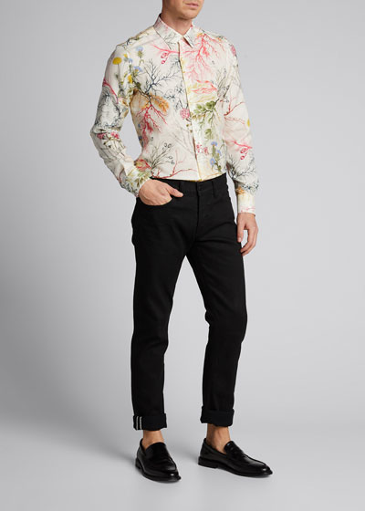 Men's Multicolor Floral Cotton/Silk Sport Shirt