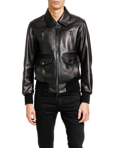 Men's Lamb Leather Zip-Front Jacket