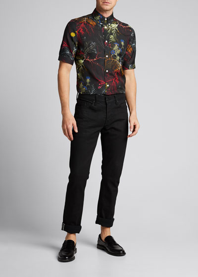 Men's Short-Sleeve Floral Cotton/Silk Sport Shirt