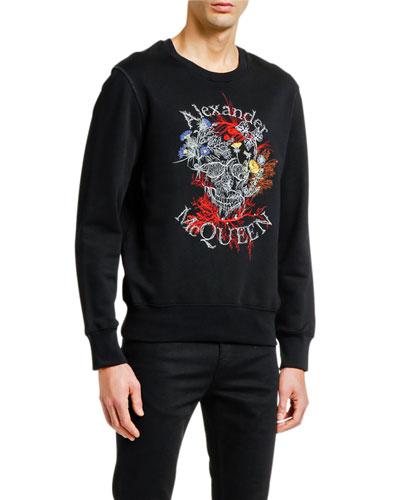 Men's Floral Skull Logo Sweatshirt