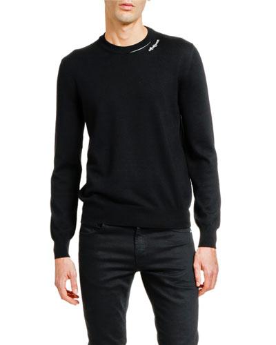 Men's Solid Crewneck Sweater w/ Slashed Neck