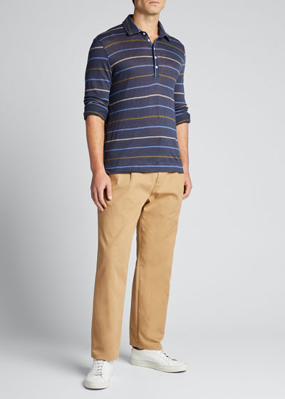Men's Long-Sleeve Striped Linen Polo Shirt