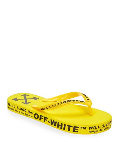 Men's Logo-Typographic Flip-Flops, Yellow