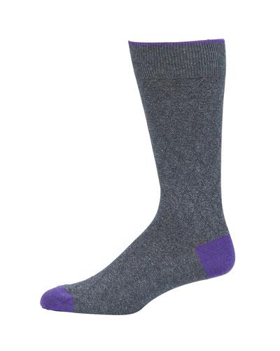 Men's Subtle Argyle Cotton-Blend Socks