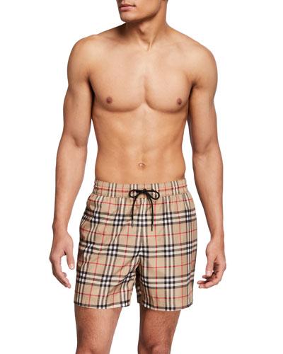 Men's Mid-Length Vintage Check Swim Trunks