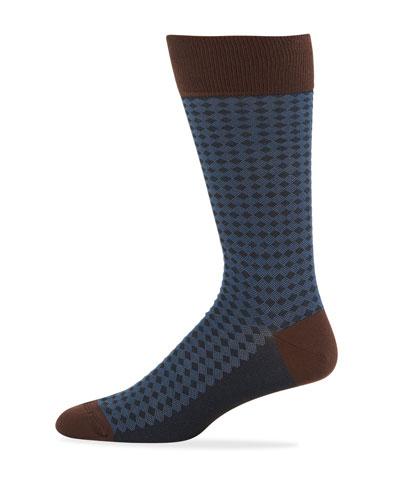 Men's Diamond-Pattern Cotton-Blend Socks