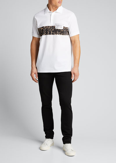 Men's Somerville Polo Shirt w/ Leopard Logo Panel