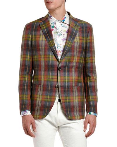 Men's Plaid Linen-Cotton Sport Coat