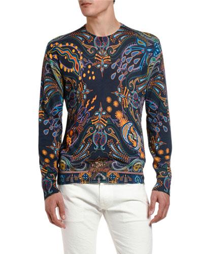 Men's Tropical Print Crewneck Sweater