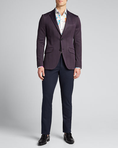 Men's Paisley Solid-Knit Trousers