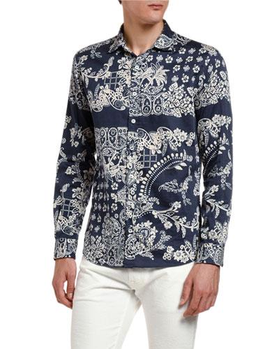 Men's Hibiscus Pattern Sport Shirt