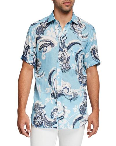 Men's Paisley Linen Hawaiian Shirt