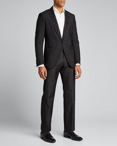 Men's Beaded-Lapel Wool Evening Jacket