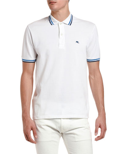 Men's Classic Knit Stripe-Trim Polo Shirt
