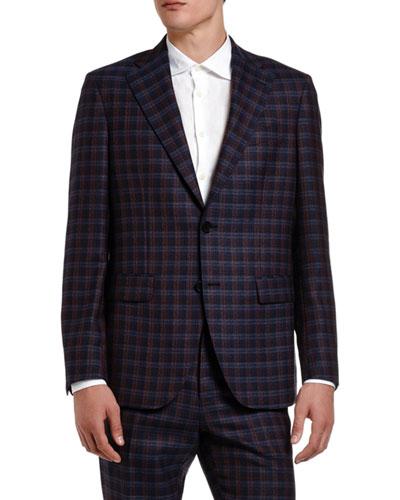 Men's Plaid Wool Suit Jacket
