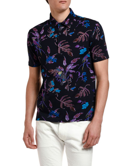 Men's Tropical Print Short-Sleeve Shirt
