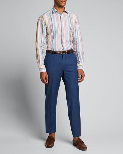 Men's Vertical-Stripe Linen Sport Shirt