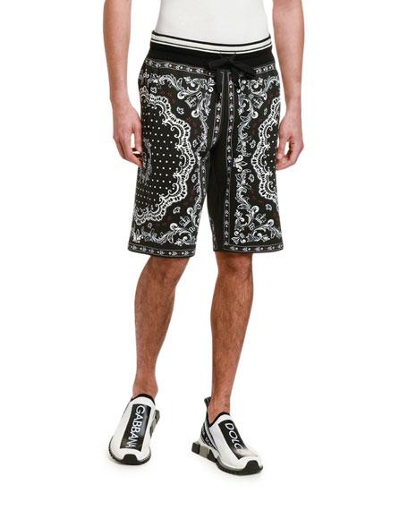 Men's Bandana-Print Cotton Sweat Shorts