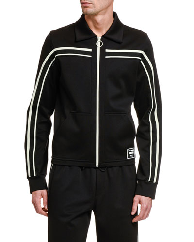 Men's Retro Contrast-Stripe Track Jacket