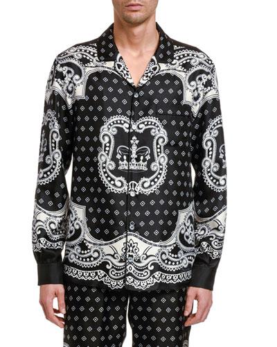 Men's Bandana Long-Sleeve Silk Shirt