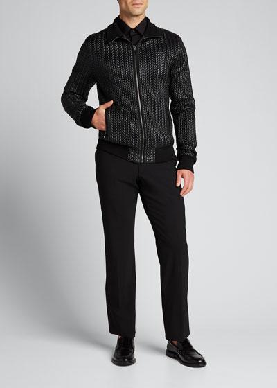 Men's Quilted Nylon Zip-Front Bomber Jacket