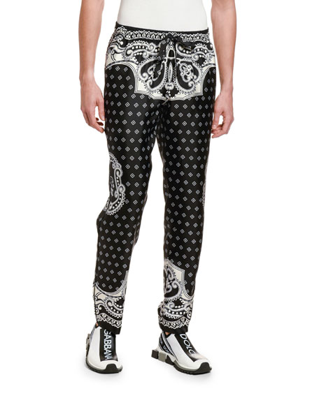 Men's Bandana Straight-Leg Silk Pants