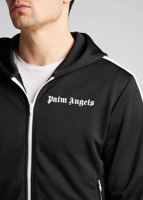 Men's Contrast-Trim Hooded Track Jacket