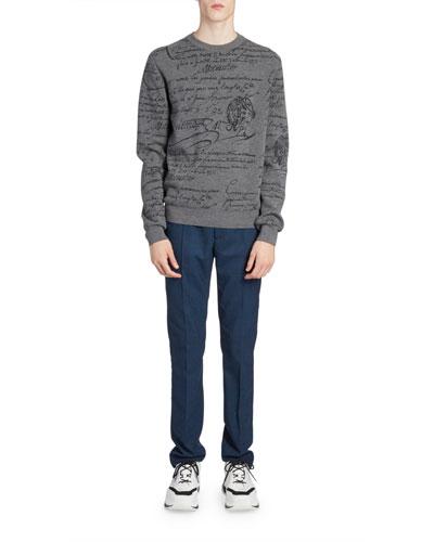 Men's Scritto Crewneck Wool Sweatshirt
