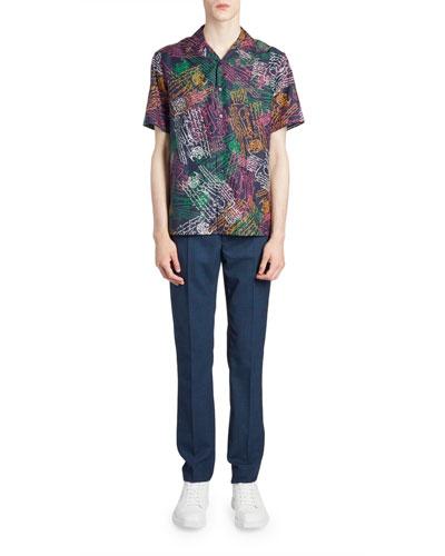 Men's Multi Scritto Silk Short-Sleeve Sport Shirt