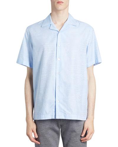Men's Scritto Silk Short-Sleeve Sport Shirt