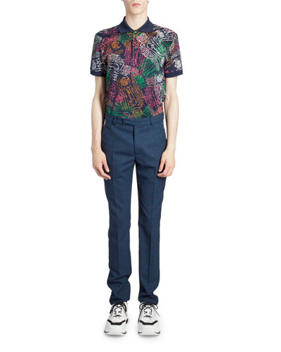 Men's Wool-Blend Jacquard Tapered Suit Pants