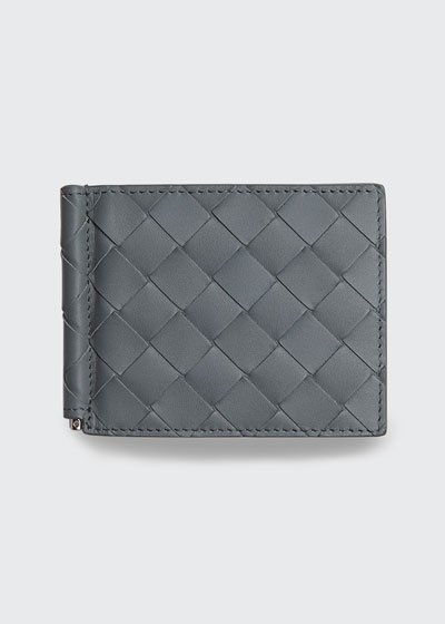 Men's Intrecciato Bi-Fold Wallet with Money Clip
