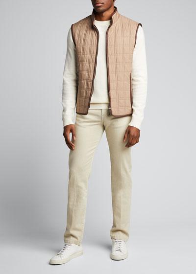 Men's Box Quilt Silk Vest w/ Leather Trim