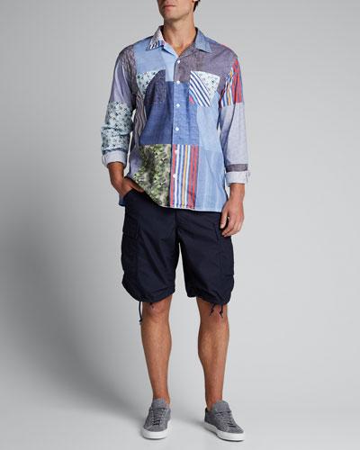 Men's Multi-Pattern Patchwork Sport Shirt