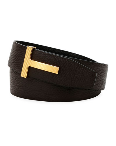 Men's Ridged T-Buckle Leather Belt
