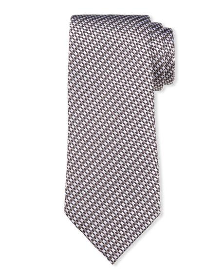 Men's Linear Jacquard Silk-Cotton Tie