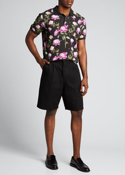 Men's Peony-Print Polo Shirt