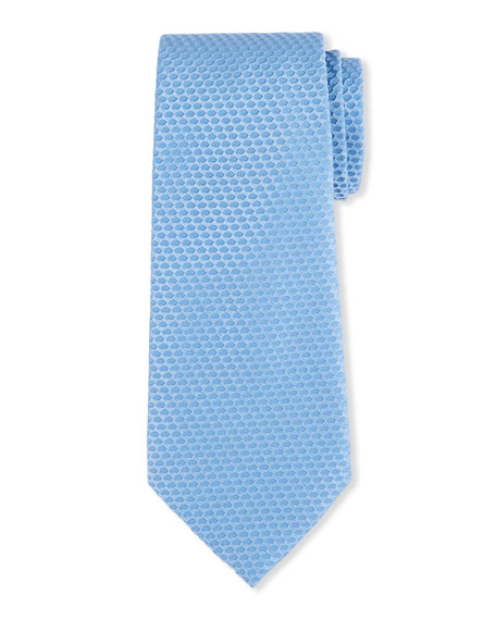 Men's Silk-Cotton Tonal Geometric Jacquard Tie