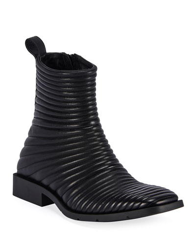 Men's Ribbed Leather Side-Zip Boots