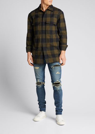 Men's Suede-Patched Medium-Wash Jeans