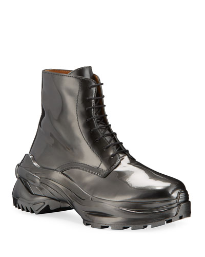 Men's Cross Shiny Faux-Leather Combat Boots