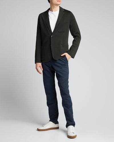 Men's Solid Silk-Cotton Knit Blazer