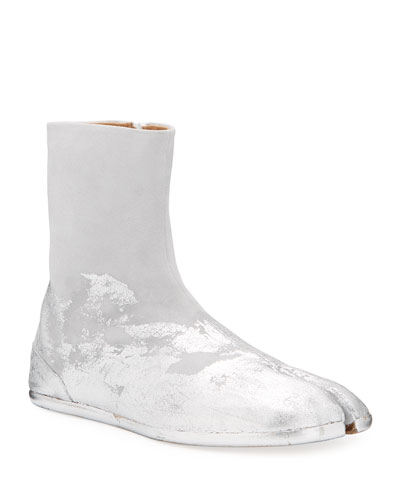 Men's Tank Metallic Split-Toe Ankle Boots