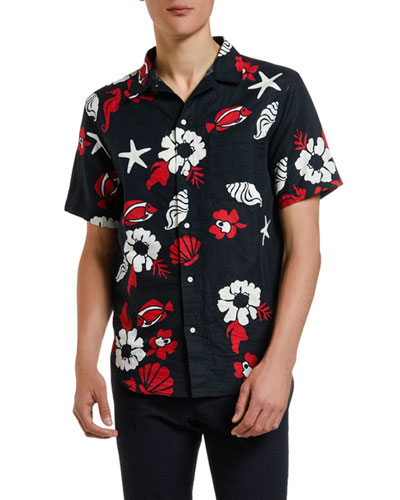 Men's Floral-Print Straight-Fit Short-Sleeve Sport Shirt