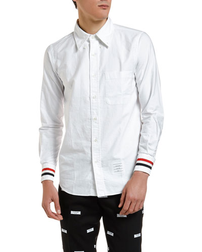 Men's Grosgrain-Trim Poplin Sport Shirt