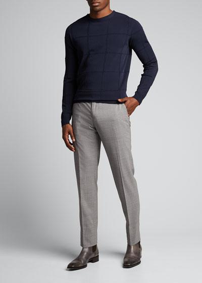 Men's Square-Pattern Crewneck Sweater