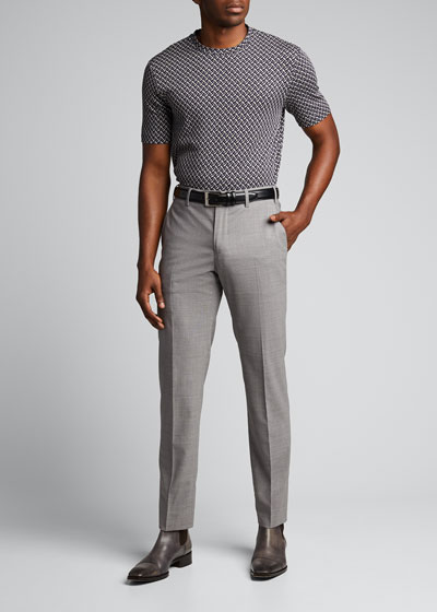 Men's Geometric Jacquard Crewneck T-Shirt
