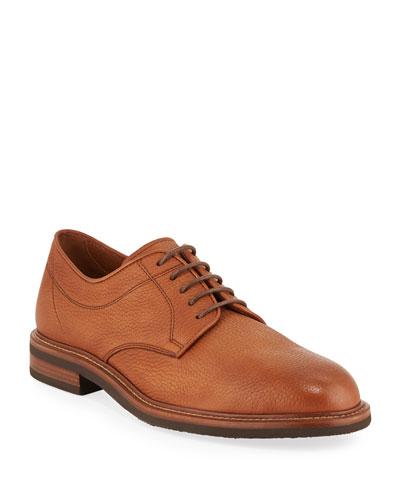 Men's Pebbled Deerskin Leather Derby Shoes