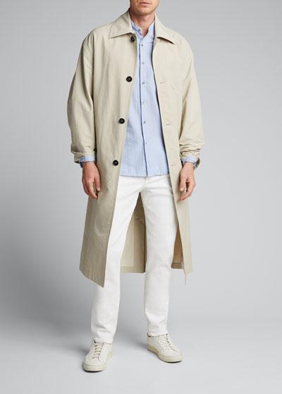 Men's Seersucker Mandarin-Collar Sport Shirt